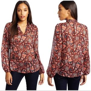 Lucky Brand Printed Crinkle Jacquard Jackie Blouse